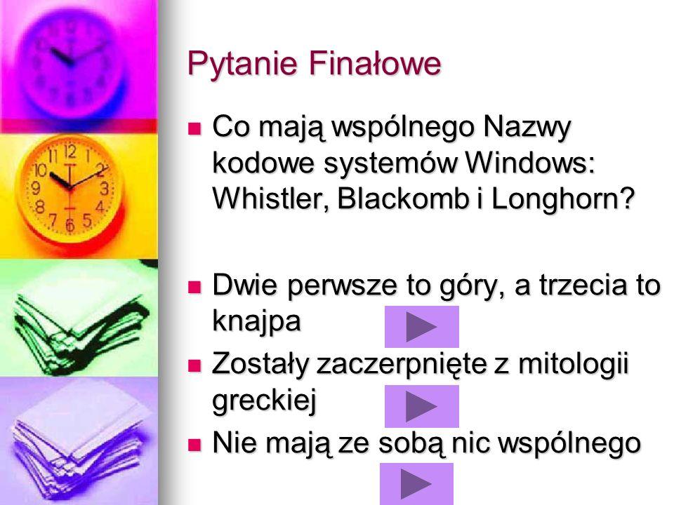Pytanie Finałowe Co mają wspólnego Nazwy kodowe systemów Windows: Whistler, Blackomb i Longhorn? Co mają wspólnego Nazwy kodowe systemów Windows: Whis
