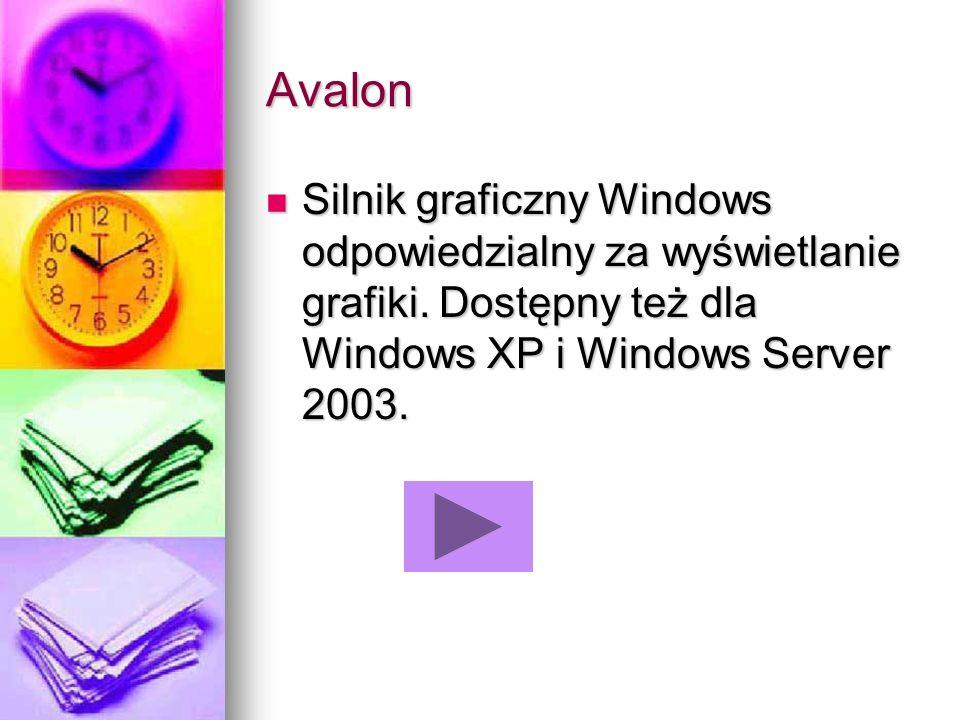 Avalon Silnik graficzny Windows odpowiedzialny za wyświetlanie grafiki. Dostępny też dla Windows XP i Windows Server 2003. Silnik graficzny Windows od