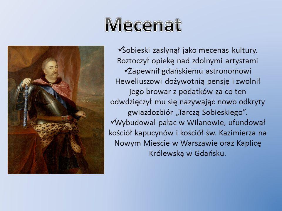 Sobieski zasłynął jako mecenas kultury. Roztoczył opiekę nad zdolnymi artystami Zapewnił gdańskiemu astronomowi Heweliuszowi dożywotnią pensję i zwoln