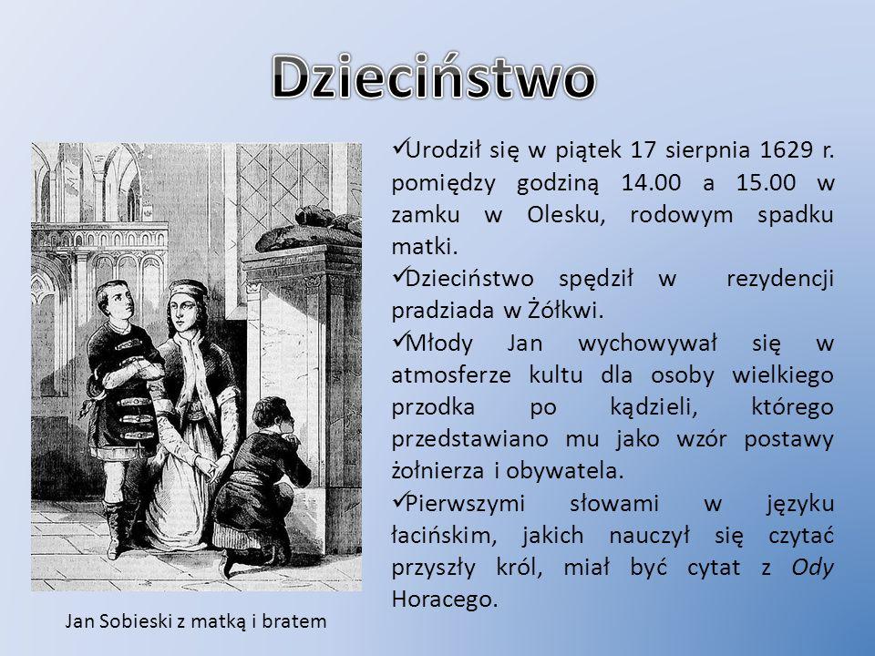 Jan Sobieski z matką i bratem Urodził się w piątek 17 sierpnia 1629 r. pomiędzy godziną 14.00 a 15.00 w zamku w Olesku, rodowym spadku matki. Dziecińs