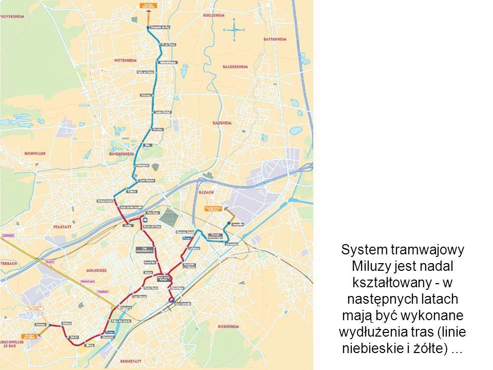 System tramwajowy Miluzy jest nadal kształtowany - w następnych latach mają być wykonane wydłużenia tras (linie niebieskie i żółte)...