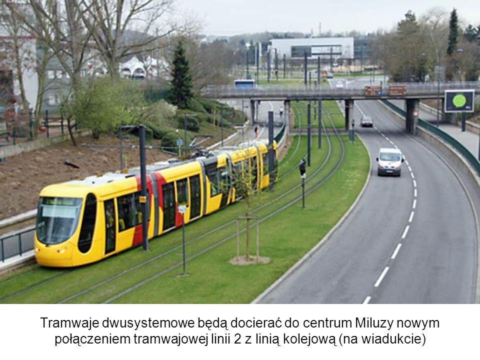 Tramwaje dwusystemowe będą docierać do centrum Miluzy nowym połączeniem tramwajowej linii 2 z linią kolejową (na wiadukcie) Tram-trains will gain acce