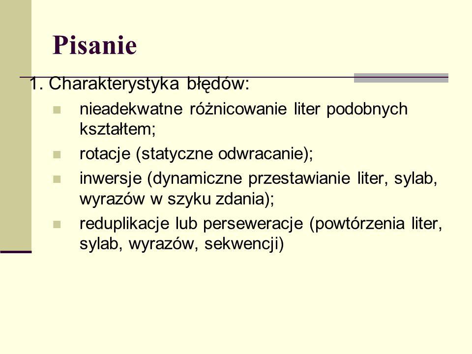 1. Charakterystyka błędów: nieadekwatne różnicowanie liter podobnych kształtem; rotacje (statyczne odwracanie); inwersje (dynamiczne przestawianie lit