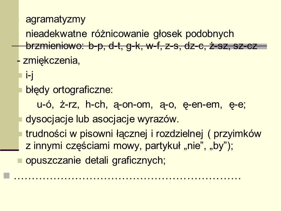 - agramatyzmy - nieadekwatne różnicowanie głosek podobnych brzmieniowo: b-p, d-t, g-k, w-f, z-s, dz-c, ż-sz, sz-cz - zmiękczenia, i-j błędy ortografic