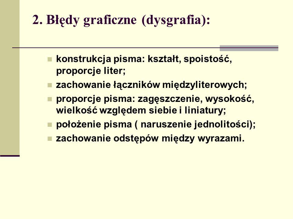 2. Błędy graficzne (dysgrafia): konstrukcja pisma: kształt, spoistość, proporcje liter; zachowanie łączników międzyliterowych; proporcje pisma: zagęsz