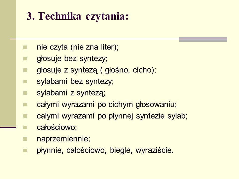 nie czyta (nie zna liter); głosuje bez syntezy; głosuje z syntezą ( głośno, cicho); sylabami bez syntezy; sylabami z syntezą; całymi wyrazami po cichy