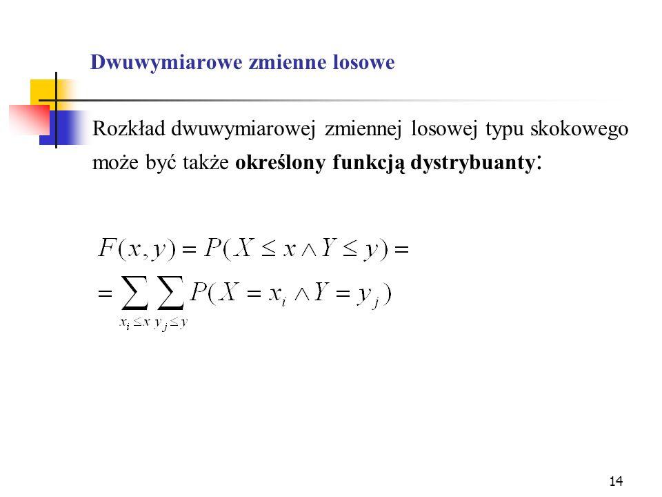 14 Dwuwymiarowe zmienne losowe Rozkład dwuwymiarowej zmiennej losowej typu skokowego może być także określony funkcją dystrybuanty :