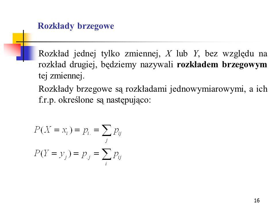 16 Rozkłady brzegowe Rozkład jednej tylko zmiennej, X lub Y, bez względu na rozkład drugiej, będziemy nazywali rozkładem brzegowym tej zmiennej. Rozkł