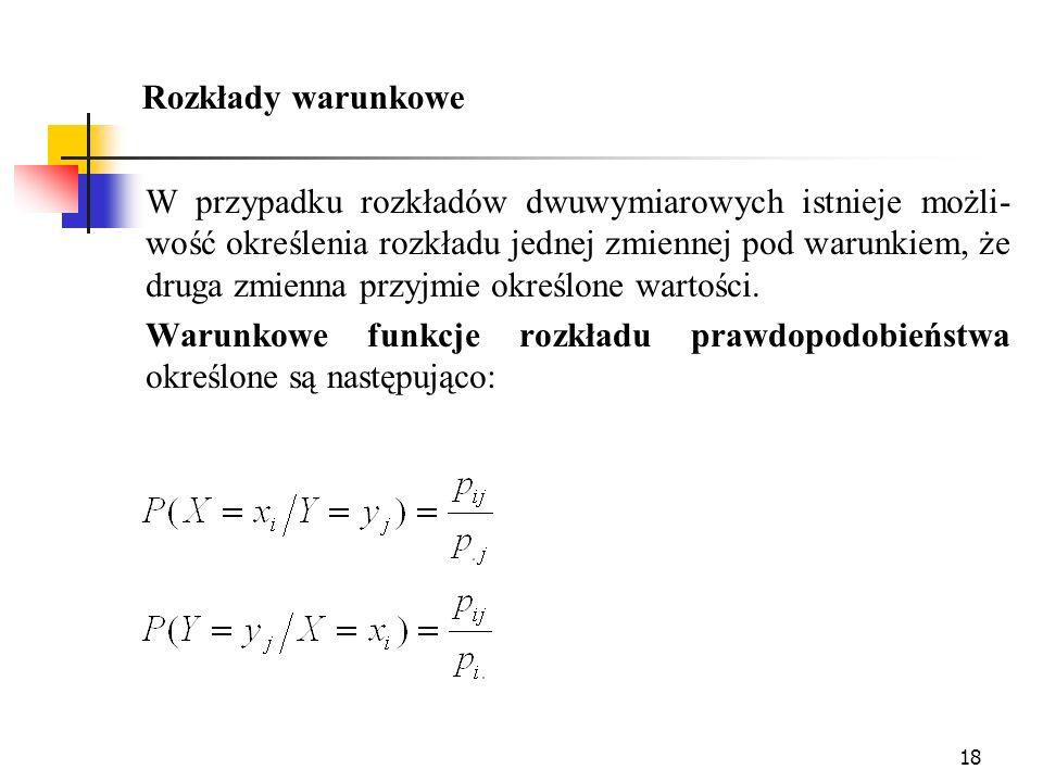 18 Rozkłady warunkowe W przypadku rozkładów dwuwymiarowych istnieje możli- wość określenia rozkładu jednej zmiennej pod warunkiem, że druga zmienna pr