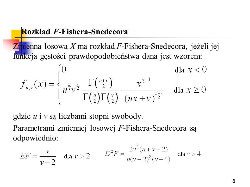8 Rozkład F-Fishera-Snedecora Zmienna losowa X ma rozkład F-Fishera-Snedecora, jeżeli jej funkcja gęstości prawdopodobieństwa dana jest wzorem: gdzie