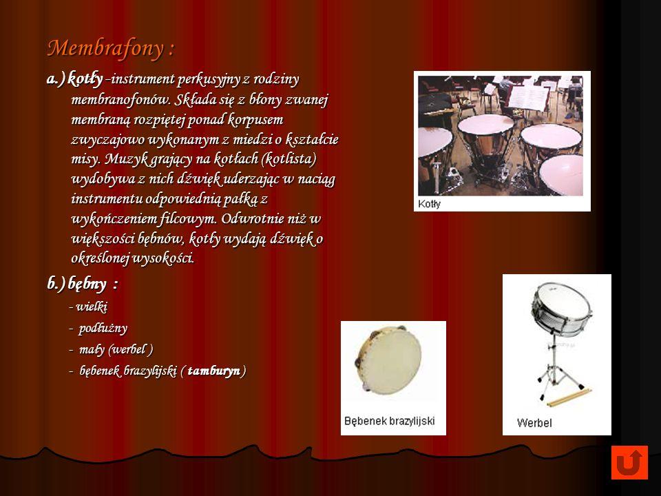 PERKUSYJNE Źródłem dźwięku jest drgająca membrana lub cały instrument, względnie część instrumentu