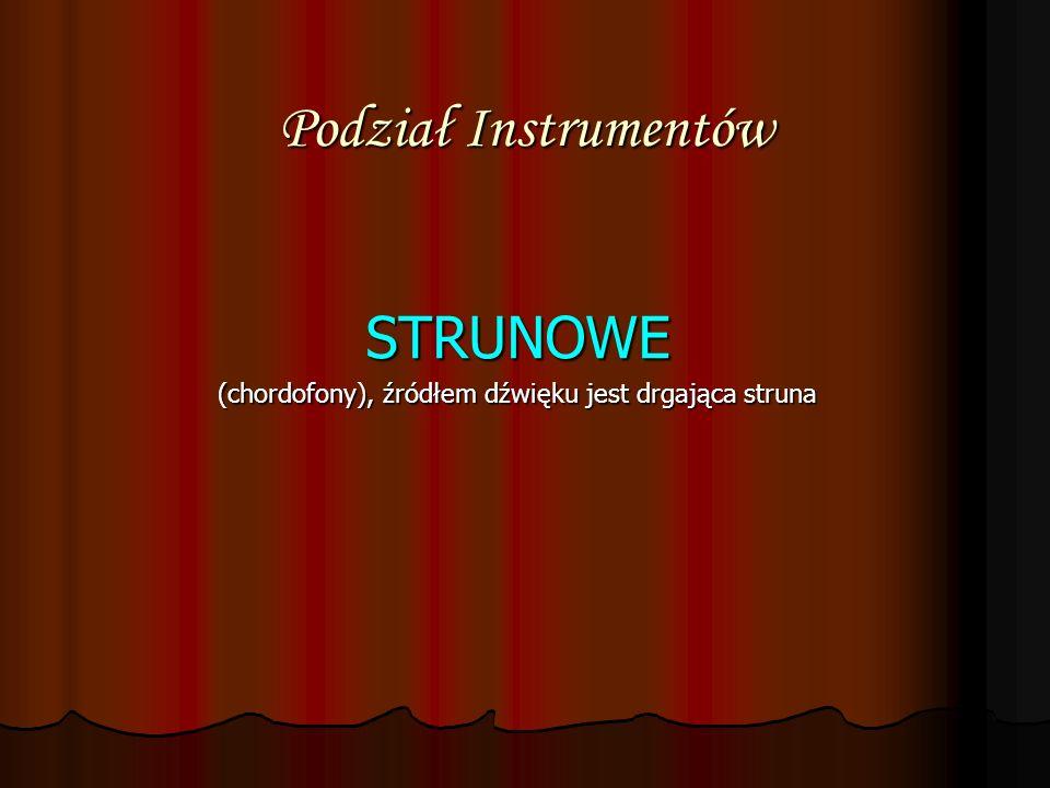 Podział Instrumentów STRUNOWE (chordofony), źródłem dźwięku jest drgająca struna