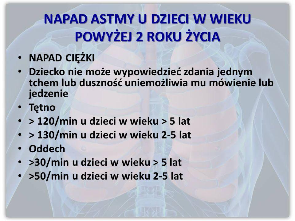 NAPAD CIĘŻKI PEF 33-50% częstotliwość oddechów 25/min częstotliwość rytmu serca 110/min niezdolność do wypowiedzenia całego zdania jednym tchem