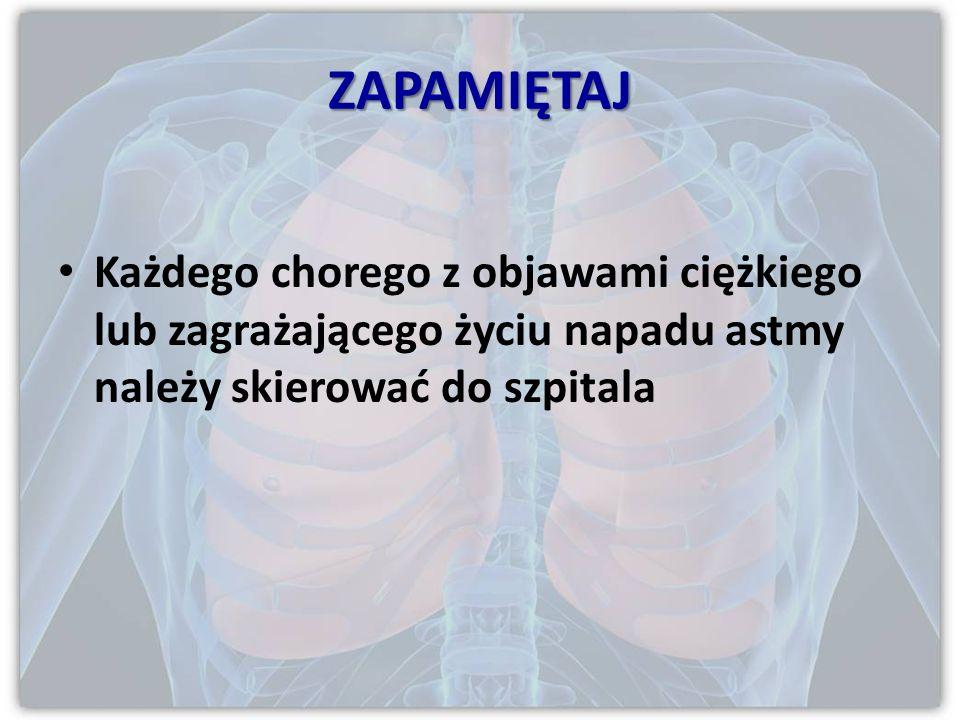 NAPAD ZAGRAŻAJĄCY ŻYCIU niesłyszalne szmery oddechowe sinica słabe ruchy oddechowe bradykardia zaburzenia rytmu serca hipotonia splątanie śpiączka wyc