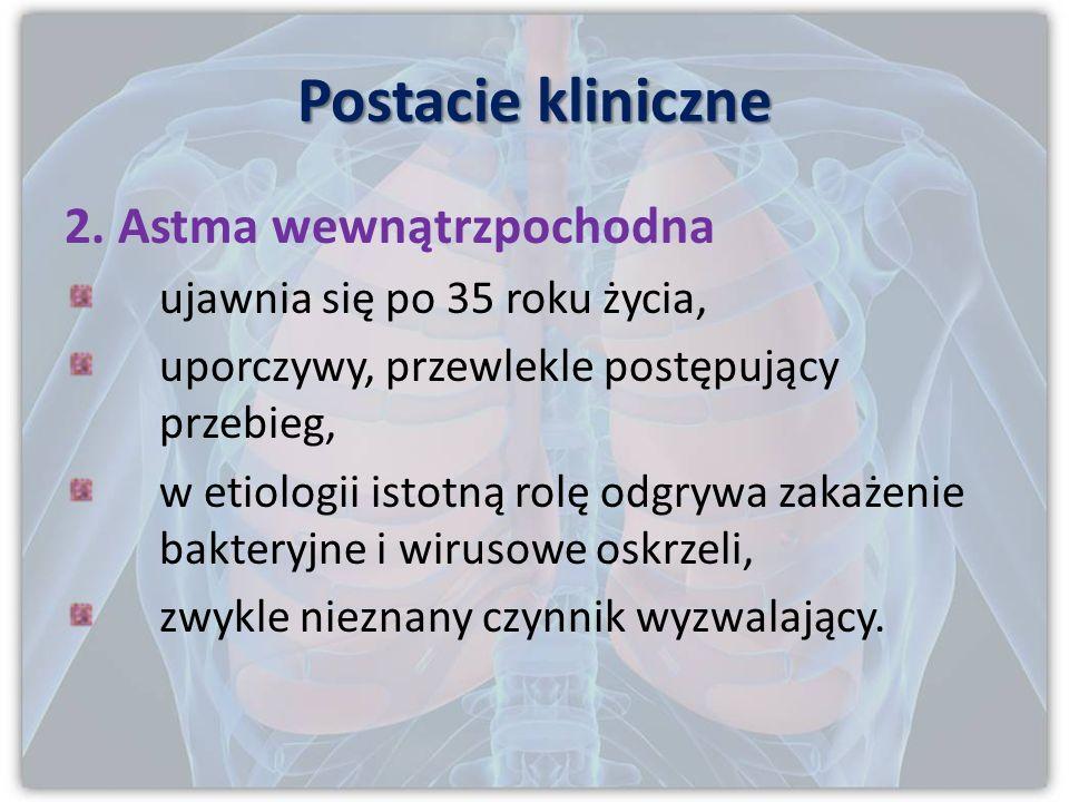 Postacie kliniczne 1. Astma zewnątrzpochodna, czyli atopowa początek przed 40 r.ż, zwykle we wczesnym dzieciństwie, czynnik wyzwalający alergeny wziew