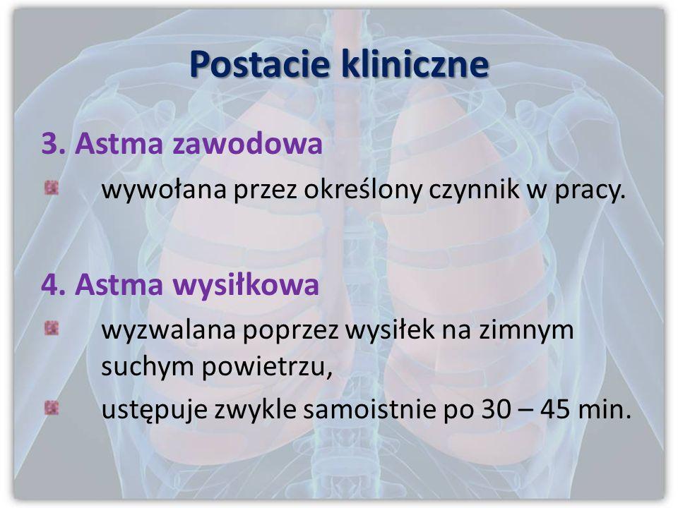 Postacie kliniczne 2. Astma wewnątrzpochodna ujawnia się po 35 roku życia, uporczywy, przewlekle postępujący przebieg, w etiologii istotną rolę odgryw