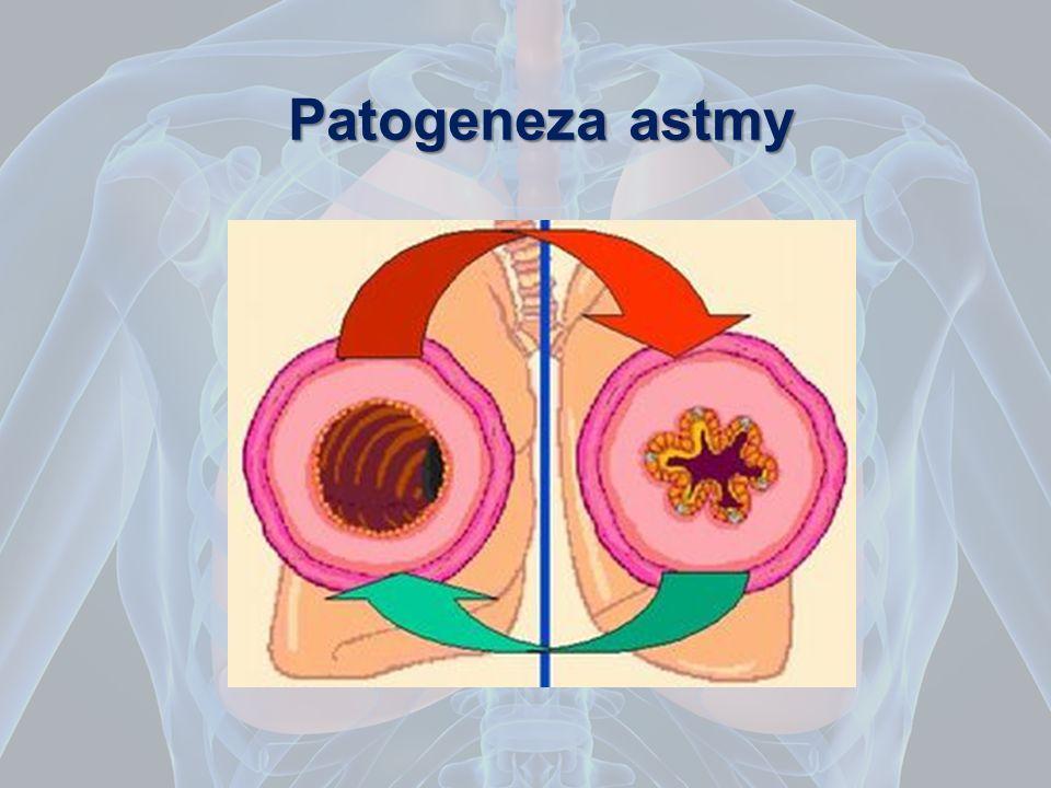 Patogeneza Zwężenie oskrzeli w astmie zależy od: 1.skurczu mięśni gładkich, 2.obrzęku błony śluzowej, 3.zatkaniu światła przez lepką wydzielinę.