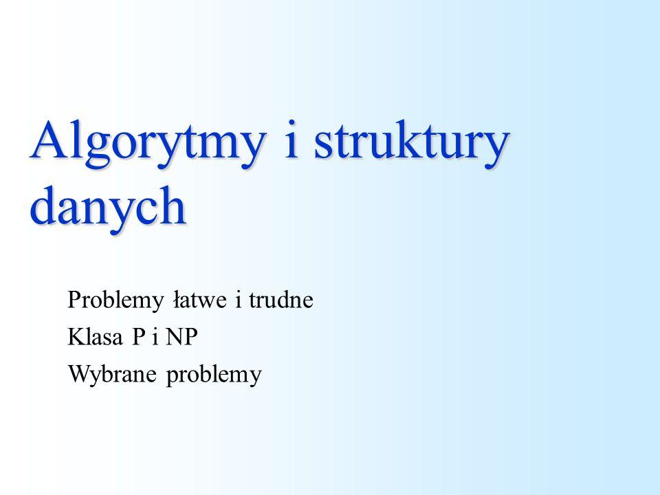 Algorytmy i struktury danych Problemy łatwe i trudne Klasa P i NP Wybrane problemy
