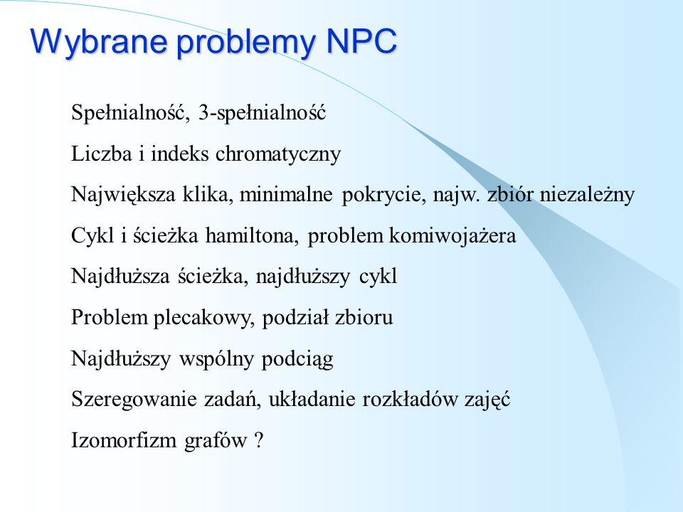 Wybrane problemy NPC Spełnialność, 3-spełnialność Liczba i indeks chromatyczny Największa klika, minimalne pokrycie, najw. zbiór niezależny Cykl i ści