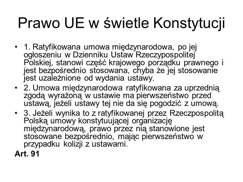Prawo UE w świetle Konstytucji 1. Ratyfikowana umowa międzynarodowa, po jej ogłoszeniu w Dzienniku Ustaw Rzeczypospolitej Polskiej, stanowi część kraj