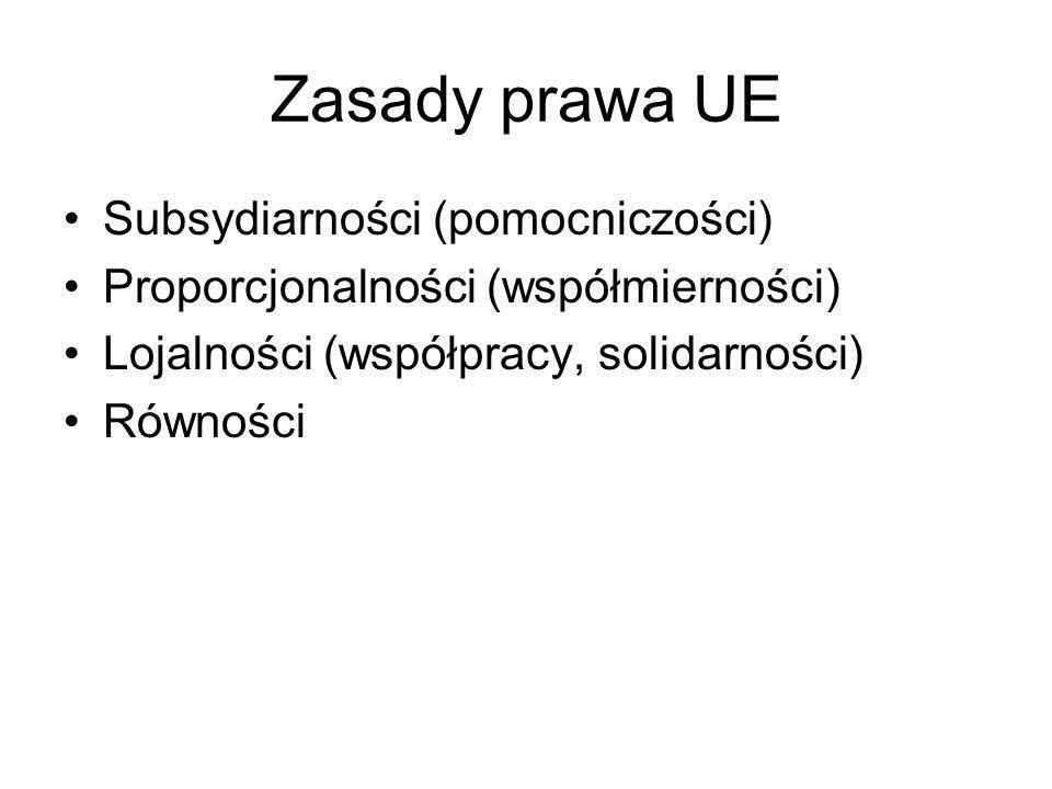 Zasady prawa UE Subsydiarności (pomocniczości) Proporcjonalności (współmierności) Lojalności (współpracy, solidarności) Równości