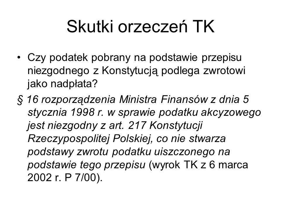 Skutki orzeczeń TK Czy podatek pobrany na podstawie przepisu niezgodnego z Konstytucją podlega zwrotowi jako nadpłata? § 16 rozporządzenia Ministra Fi