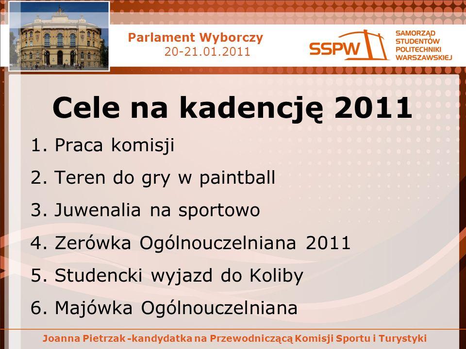 Parlament Wyborczy 20-21.01.2011 Joanna Pietrzak -kandydatka na Przewodniczącą Komisji Sportu i Turystyki Cele na kadencję 2011 1. Praca komisji 2. Te