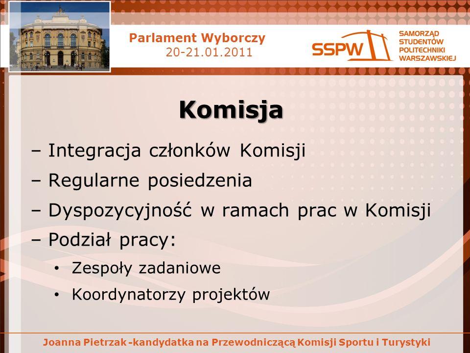 Parlament Wyborczy 20-21.01.2011 Joanna Pietrzak -kandydatka na Przewodniczącą Komisji Sportu i Turystyki Komisja –Integracja członków Komisji –Regula