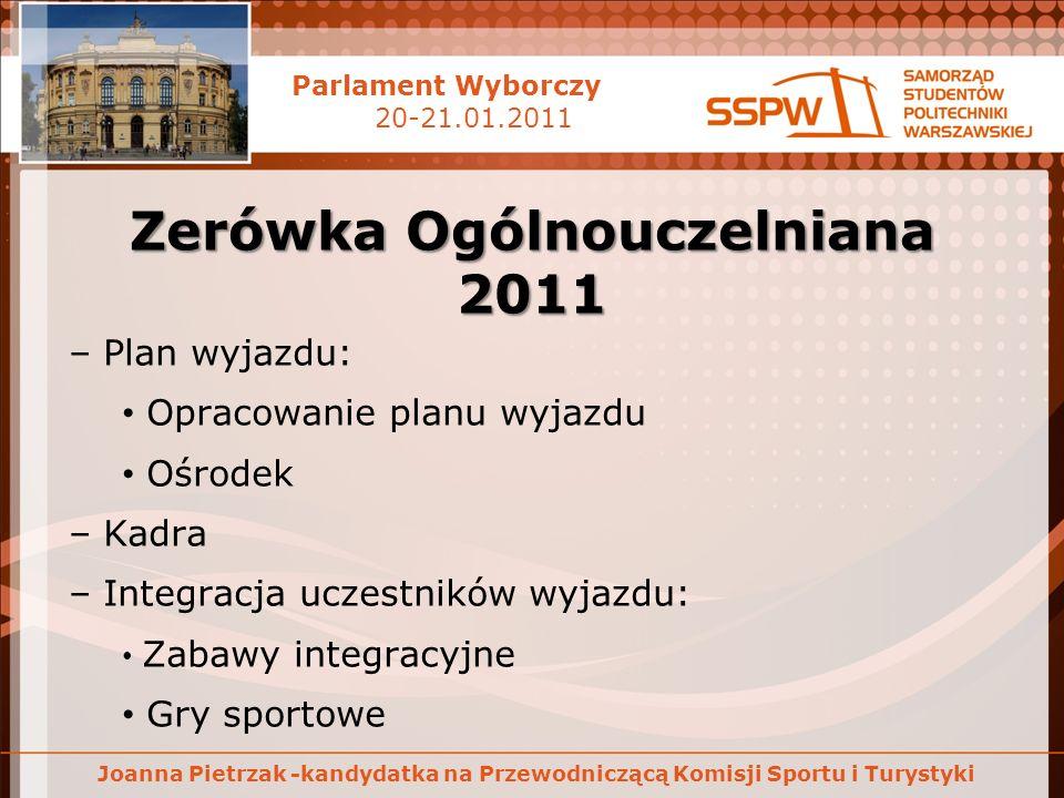 Parlament Wyborczy 20-21.01.2011 Joanna Pietrzak -kandydatka na Przewodniczącą Komisji Sportu i Turystyki Studencki wyjazd do Koliby