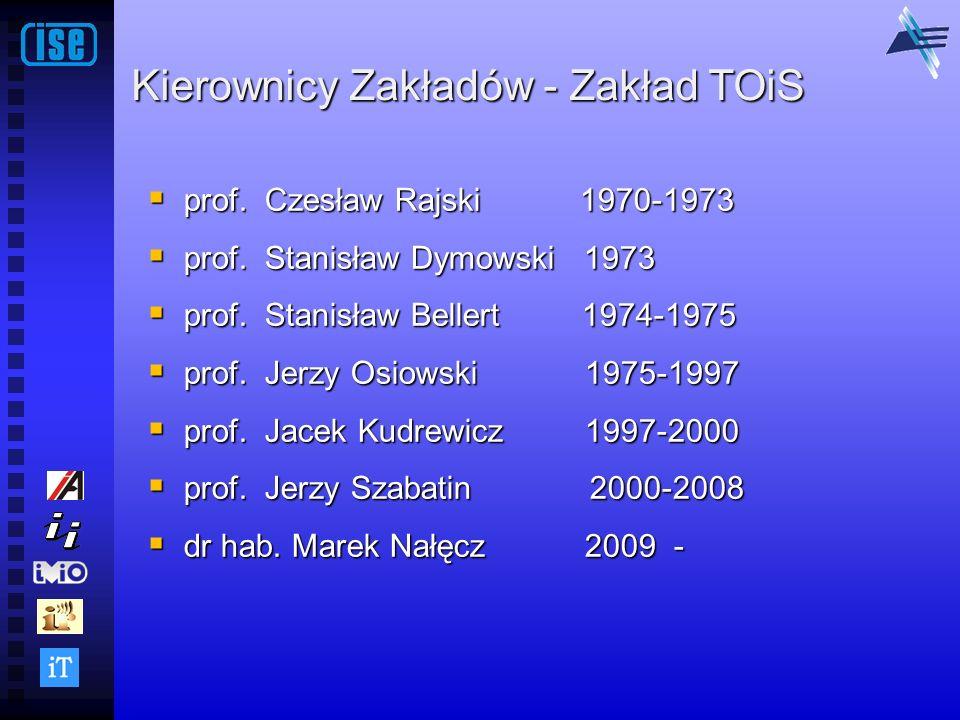 Kierownicy Zakładów - Zakład TOiS prof. Czesław Rajski 1970-1973 prof. Czesław Rajski 1970-1973 prof. Stanisław Dymowski 1973 prof. Stanisław Dymowski