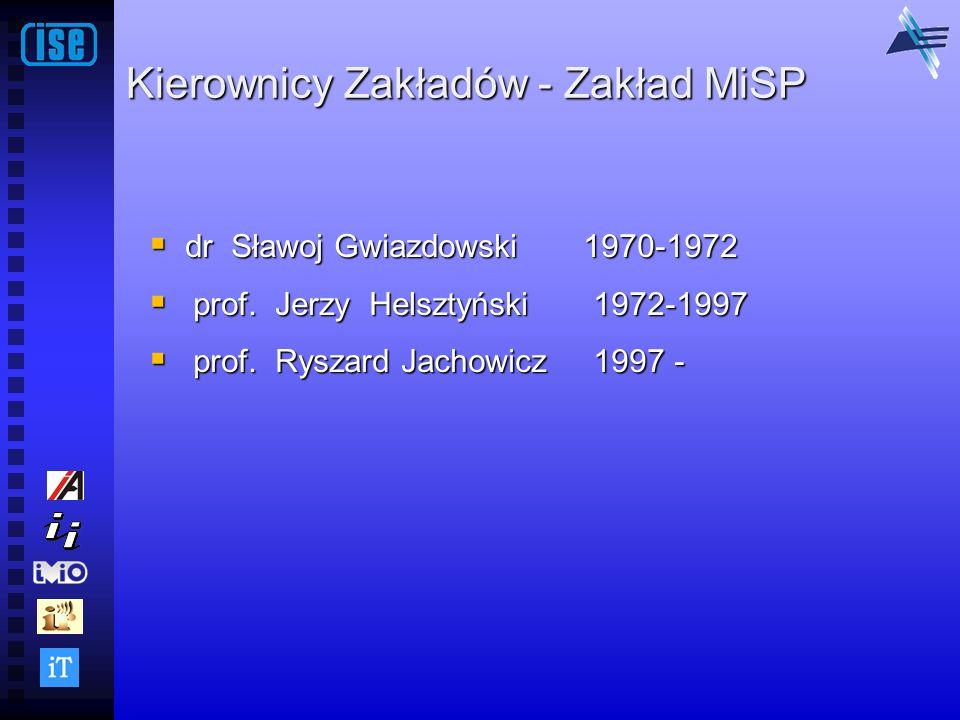 Kierownicy Zakładów - Zakład MiSP dr Sławoj Gwiazdowski 1970-1972 dr Sławoj Gwiazdowski 1970-1972 prof. Jerzy Helsztyński 1972-1997 prof. Jerzy Helszt