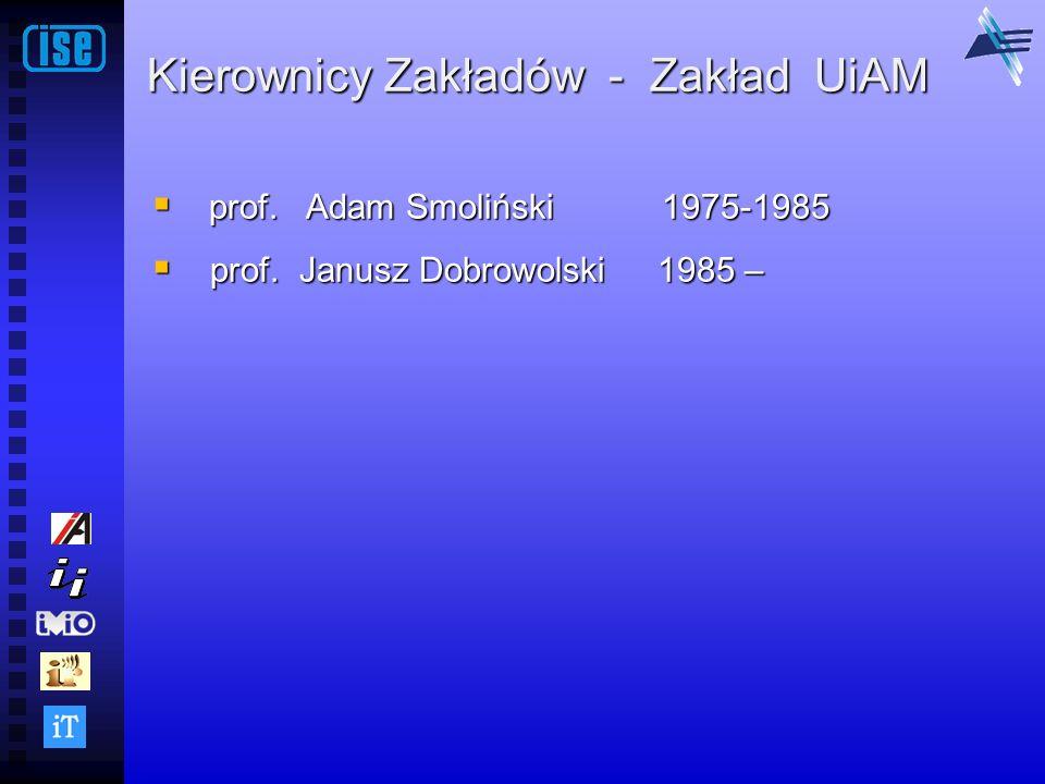 Kierownicy Zakładów - Zakład UiAM prof. Adam Smoliński 1975-1985 prof. Adam Smoliński 1975-1985 prof. Janusz Dobrowolski 1985 – prof. Janusz Dobrowols