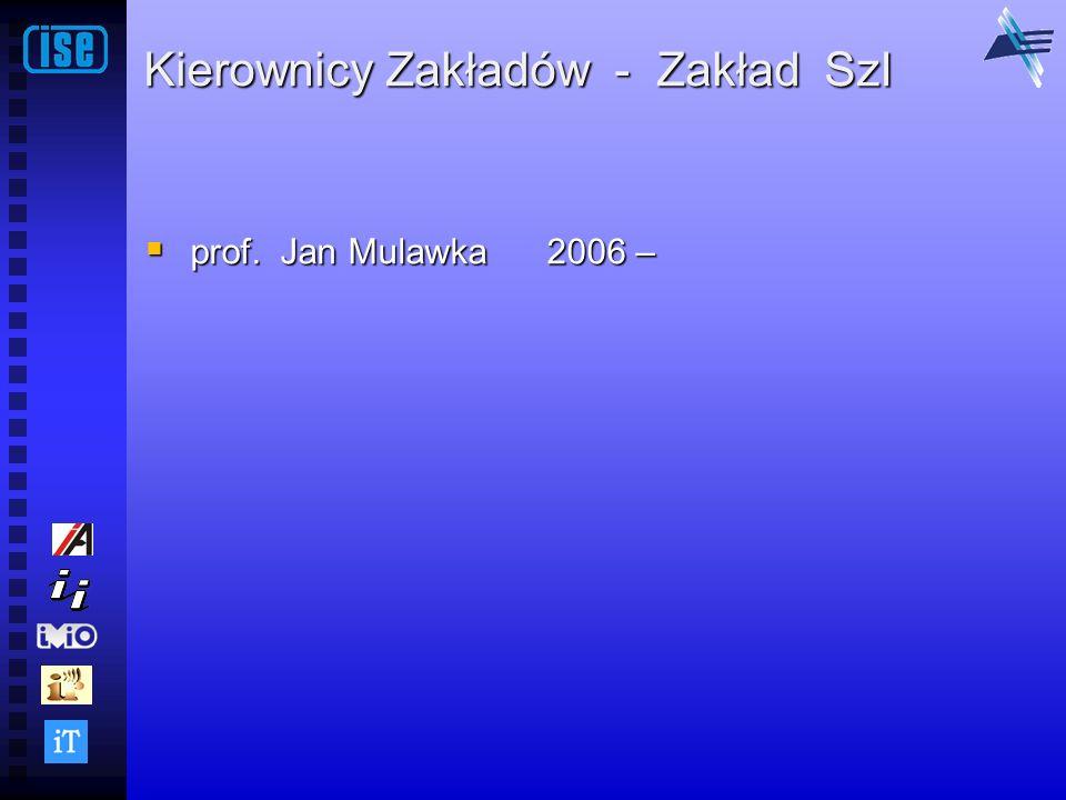 Kierownicy Zakładów - Zakład SzI prof. Jan Mulawka 2006 – prof. Jan Mulawka 2006 –