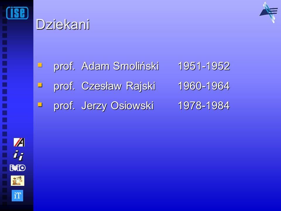 Dziekani prof. Adam Smoliński 1951-1952 prof. Adam Smoliński 1951-1952 prof. Czesław Rajski 1960-1964 prof. Czesław Rajski 1960-1964 prof. Jerzy Osiow