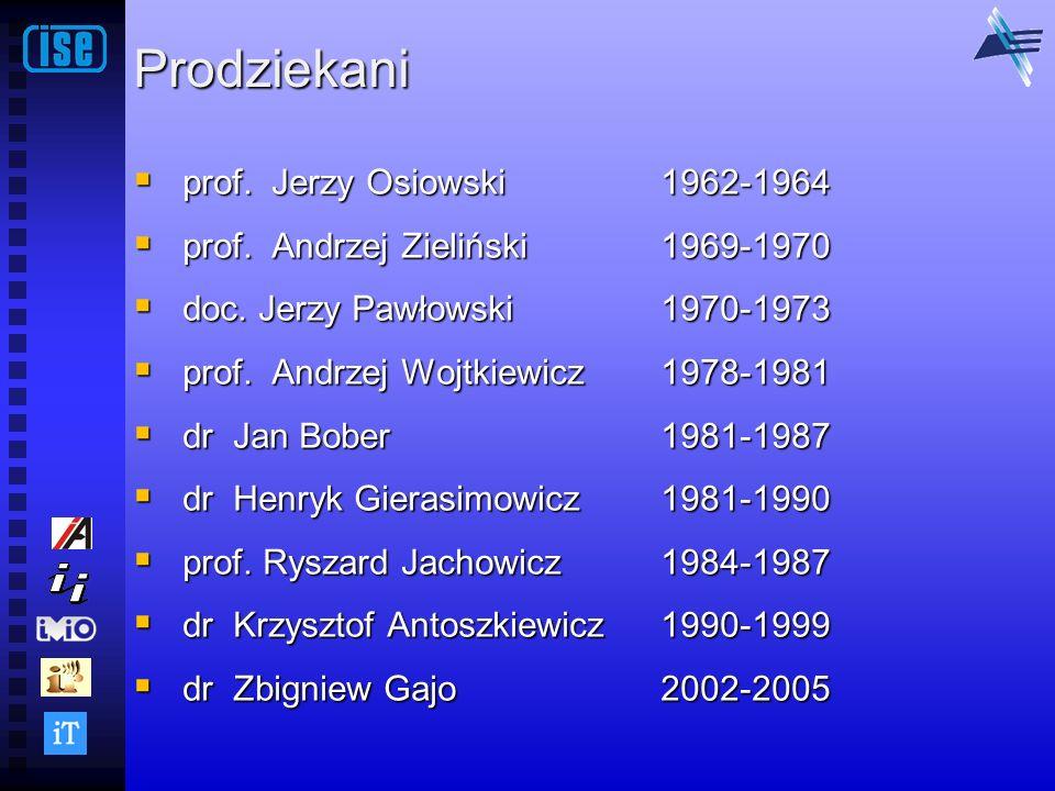 Prodziekani prof. Jerzy Osiowski 1962-1964 prof. Jerzy Osiowski 1962-1964 prof. Andrzej Zieliński1969-1970 prof. Andrzej Zieliński1969-1970 doc. Jerzy