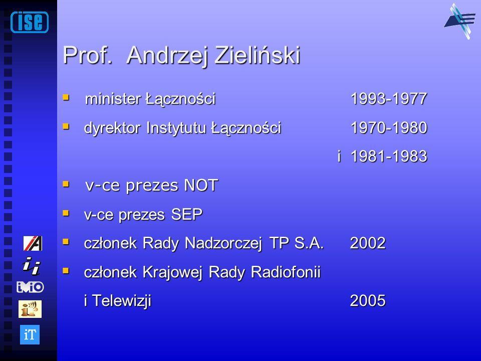 Prof. Andrzej Zieliński minister Łączności1993-1977 minister Łączności1993-1977 dyrektor Instytutu Łączności 1970-1980 dyrektor Instytutu Łączności 19