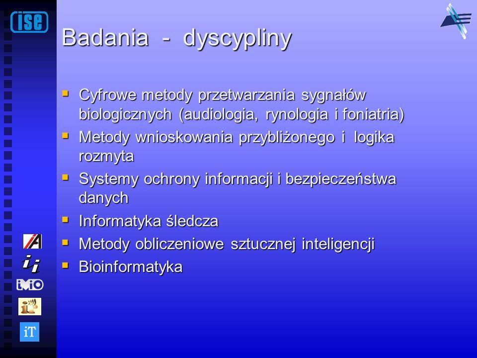 Badania - dyscypliny Cyfrowe metody przetwarzania sygnałów biologicznych (audiologia, rynologia i foniatria) Cyfrowe metody przetwarzania sygnałów bio