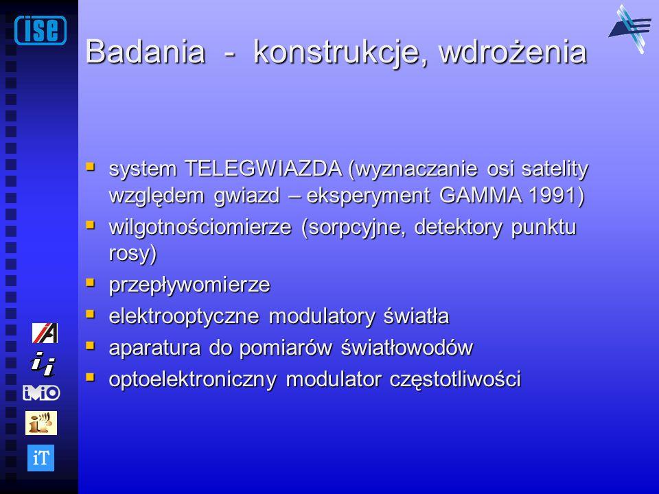 Badania - konstrukcje, wdrożenia system TELEGWIAZDA (wyznaczanie osi satelity względem gwiazd – eksperyment GAMMA 1991) system TELEGWIAZDA (wyznaczani