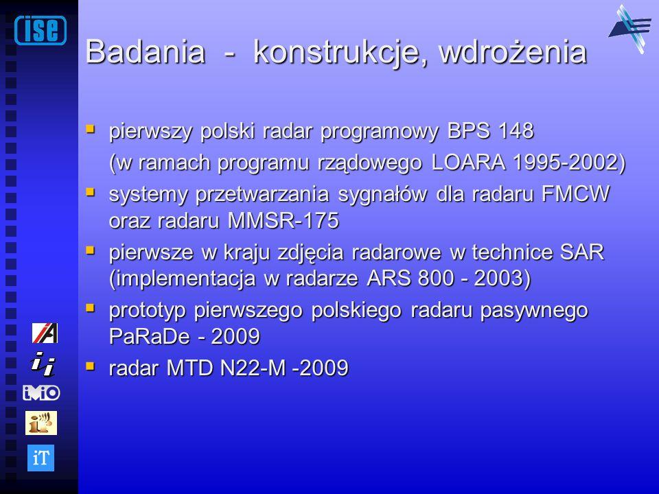 Badania - konstrukcje, wdrożenia pierwszy polski radar programowy BPS 148 pierwszy polski radar programowy BPS 148 (w ramach programu rządowego LOARA