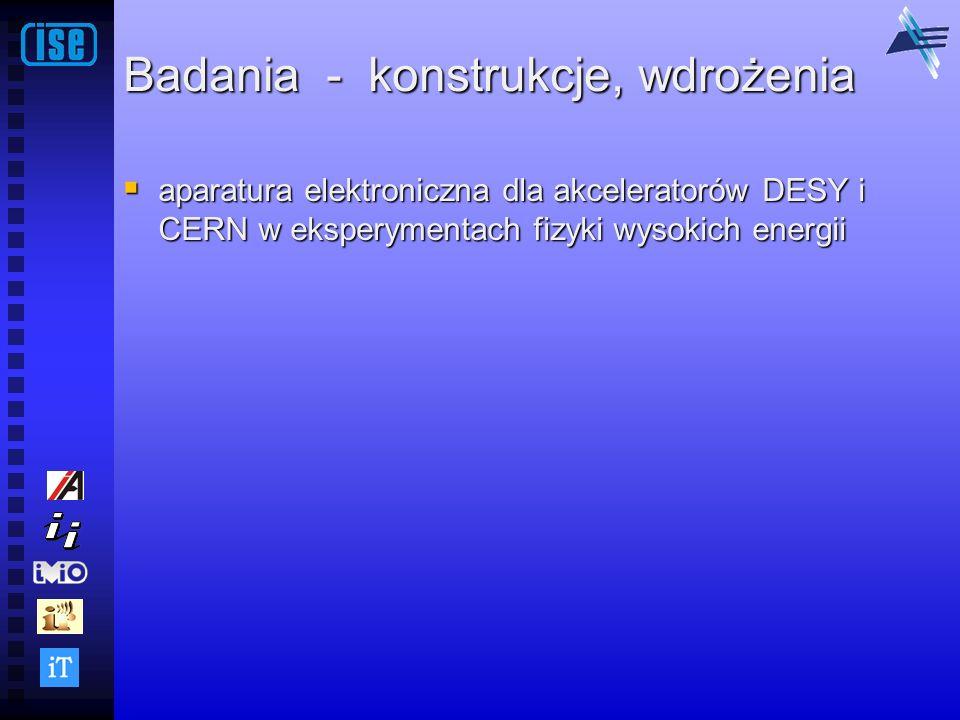Badania - konstrukcje, wdrożenia aparatura elektroniczna dla akceleratorów DESY i CERN w eksperymentach fizyki wysokich energii aparatura elektroniczn