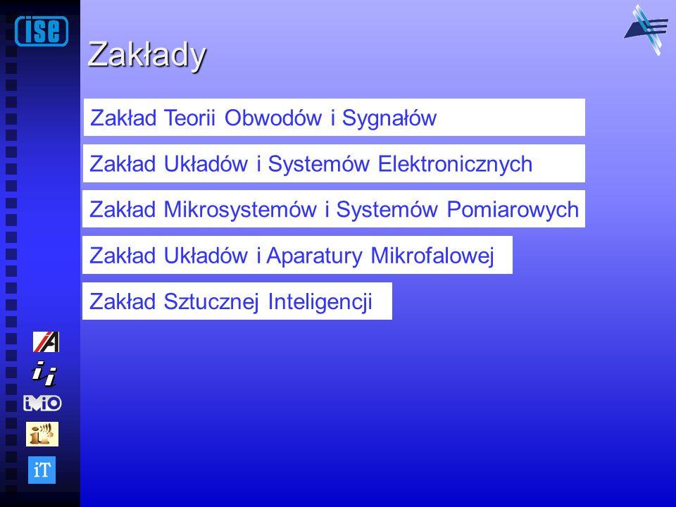 Zakłady Zakład Teorii Obwodów i Sygnałów Zakład Układów i Systemów Elektronicznych Zakład Mikrosystemów i Systemów Pomiarowych Zakład Układów i Aparat