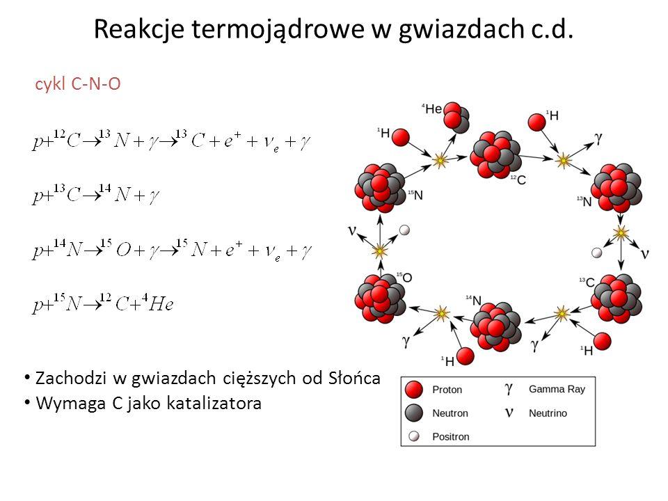 Reakcje termojądrowe w gwiazdach c.d. cykl C-N-O Zachodzi w gwiazdach cięższych od Słońca Wymaga C jako katalizatora