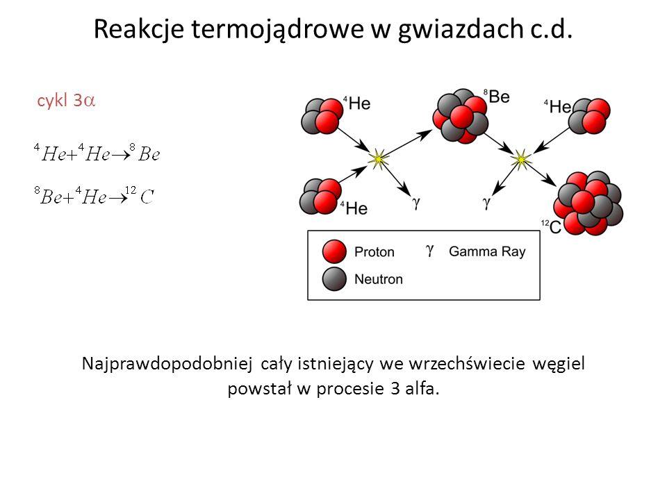 Reakcje termojądrowe w gwiazdach c.d. cykl 3 Najprawdopodobniej cały istniejący we wrzechświecie węgiel powstał w procesie 3 alfa.