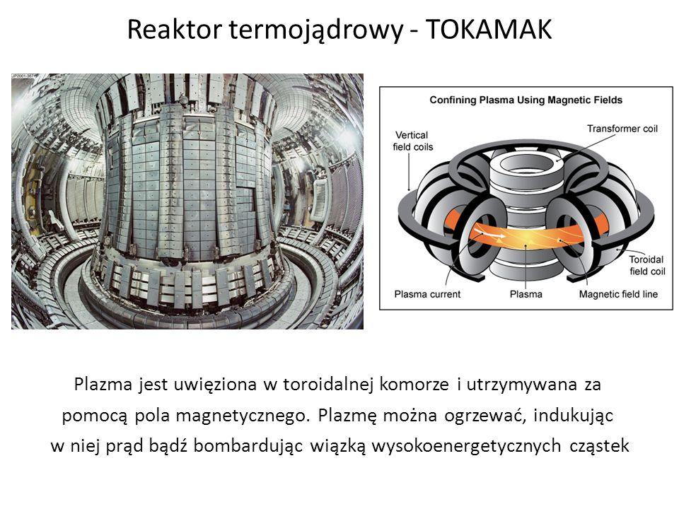 Reaktor termojądrowy - TOKAMAK Plazma jest uwięziona w toroidalnej komorze i utrzymywana za pomocą pola magnetycznego. Plazmę można ogrzewać, indukują