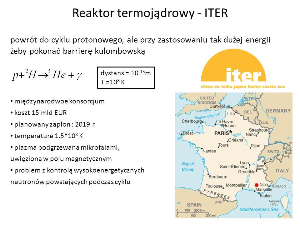 Reaktor termojądrowy - ITER powrót do cyklu protonowego, ale przy zastosowaniu tak dużej energii żeby pokonać barrierę kulombowską dystans = 10 -15 m
