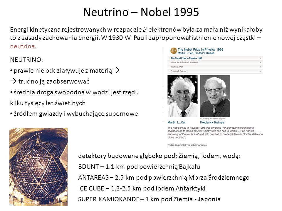 Neutrino – Nobel 1995 Energi kinetyczna rejestrowanych w rozpadzie elektronów była za mała niż wynikałoby to z zasady zachowania energii. W 1930 W. Pa