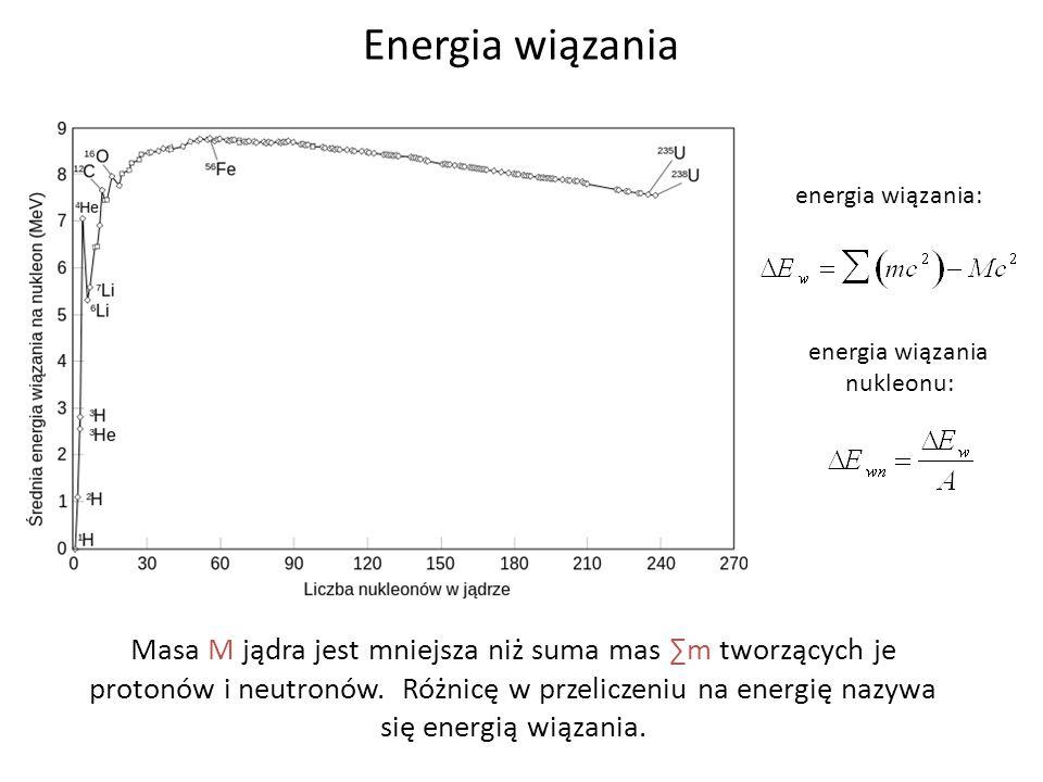 Energia wiązania Masa M jądra jest mniejsza niż suma mas m tworzących je protonów i neutronów. Różnicę w przeliczeniu na energię nazywa się energią wi