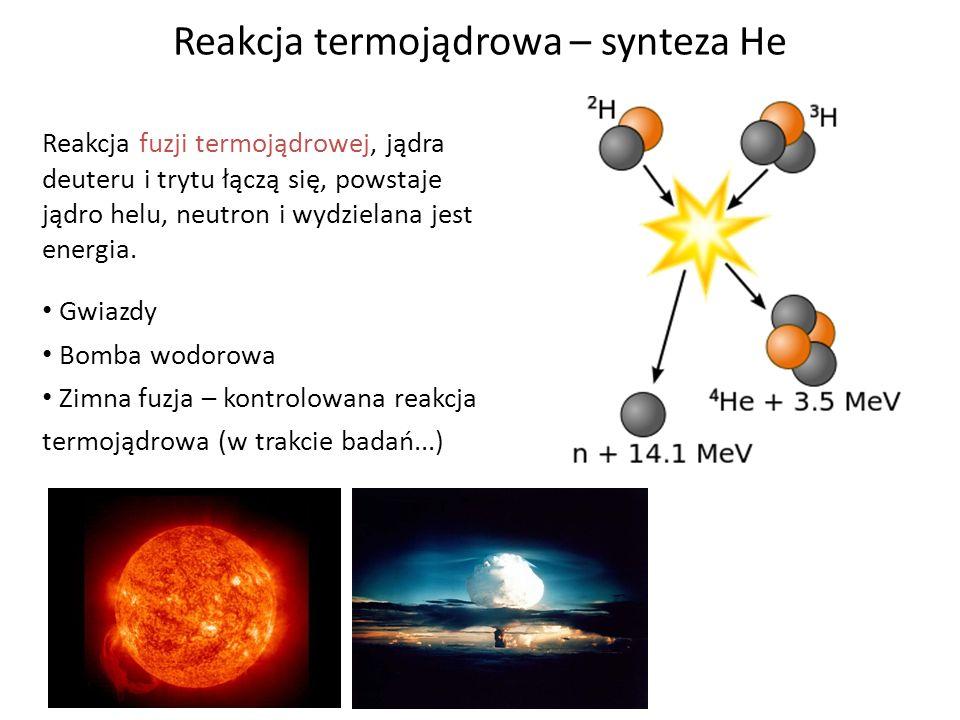 Reakcja termojądrowa – synteza He Reakcja fuzji termojądrowej, jądra deuteru i trytu łączą się, powstaje jądro helu, neutron i wydzielana jest energia