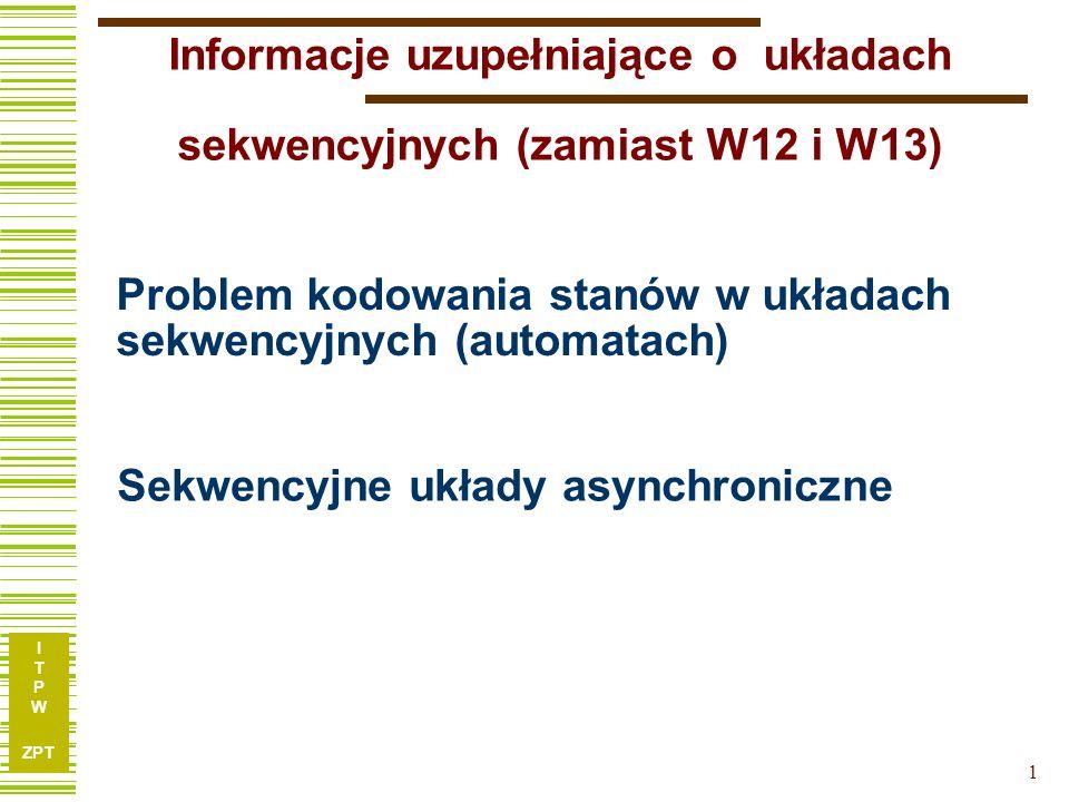 I T P W ZPT 22 Zjawisko hazardu W układach asynchronicznych funkcje wzbudzeń muszą być realizowane w taki sposób, aby nie występował hazard statyczny.