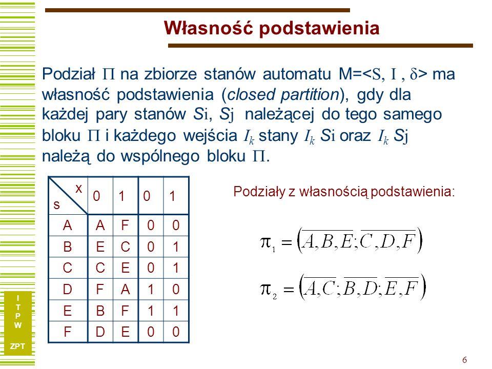 I T P W ZPT 17 Synteza układów asynchronicznych x1x2Sx1x2S 00011110y A00 01100 B01–1001101 (-)11––––– C100010 0 01 A/0 B/1 C/0 00 10 11 10 01 11 01 00 01 10 Kod stanu Graf stanów x1x2Sx1x2S 00011110y AAABC0 B–CBC1 CACCC0